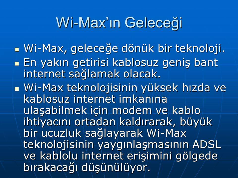Wi-Max'ın Geleceği Wi-Max, geleceğe dönük bir teknoloji. Wi-Max, geleceğe dönük bir teknoloji. En yakın getirisi kablosuz geniş bant internet sağlamak
