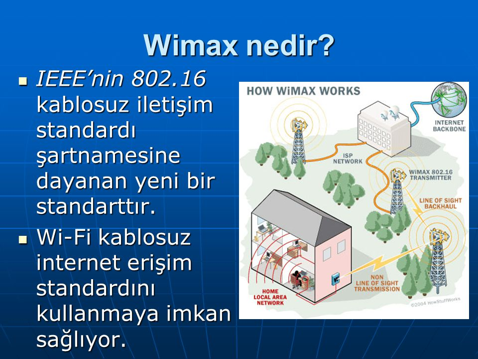 Wimax nedir? IEEE'nin 802.16 kablosuz iletişim standardı şartnamesine dayanan yeni bir standarttır. IEEE'nin 802.16 kablosuz iletişim standardı şartna