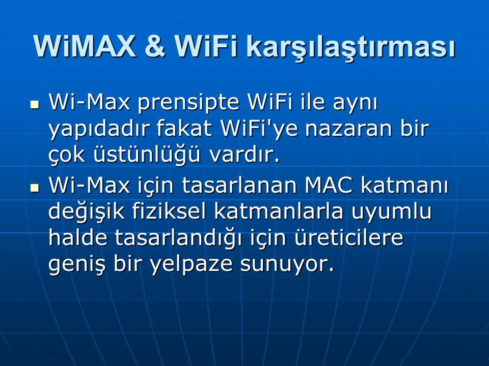 WiMAX & WiFi karşılaştırması Wi-Max prensipte WiFi ile aynı yapıdadır fakat WiFi'ye nazaran bir çok üstünlüğü vardır. Wi-Max prensipte WiFi ile aynı y