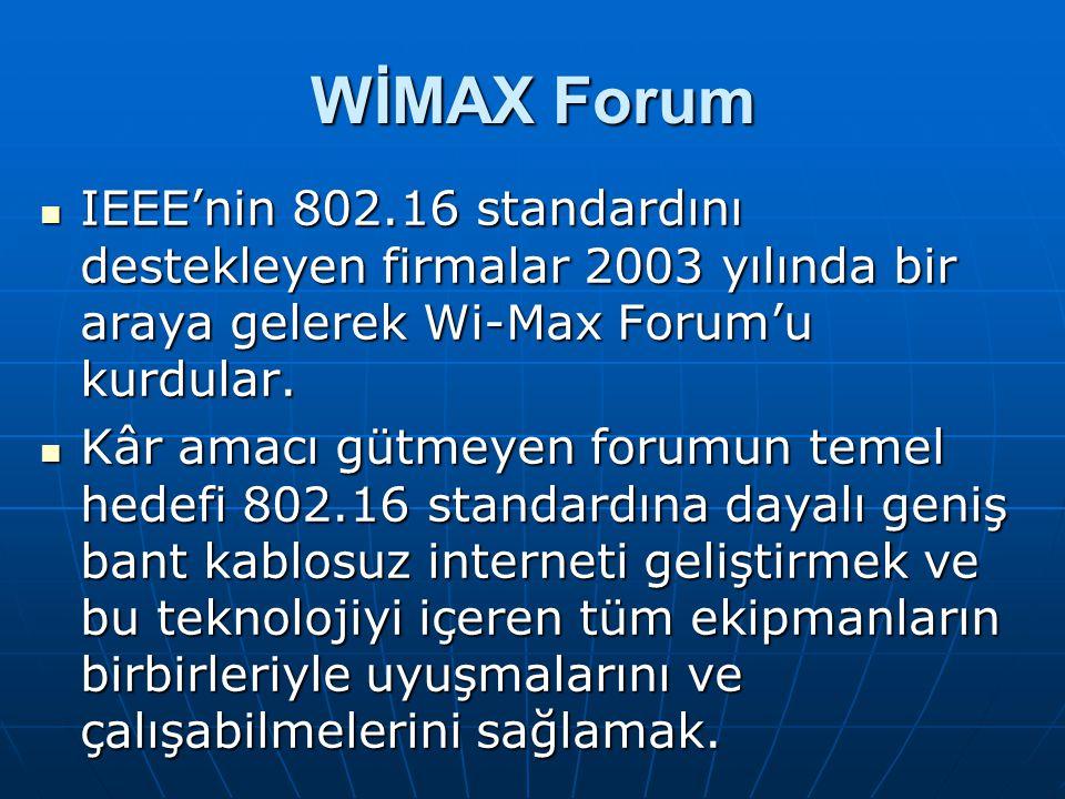 WİMAX Forum IEEE'nin 802.16 standardını destekleyen firmalar 2003 yılında bir araya gelerek Wi-Max Forum'u kurdular. IEEE'nin 802.16 standardını deste