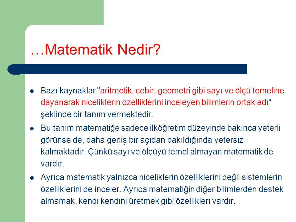 …Matematik Nedir? Bazı kaynaklar