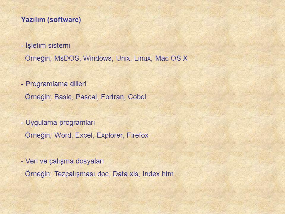 Yazılım (software) - İşletim sistemi Örneğin; MsDOS, Windows, Unix, Linux, Mac OS X - Programlama dilleri Örneğin; Basic, Pascal, Fortran, Cobol - Uyg