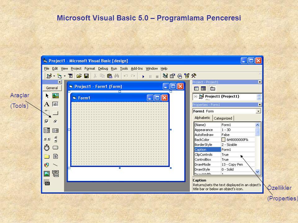 Araçlar (Tools) Programlamada kullanacağımız görsel araçların bulunduğu penceredir.