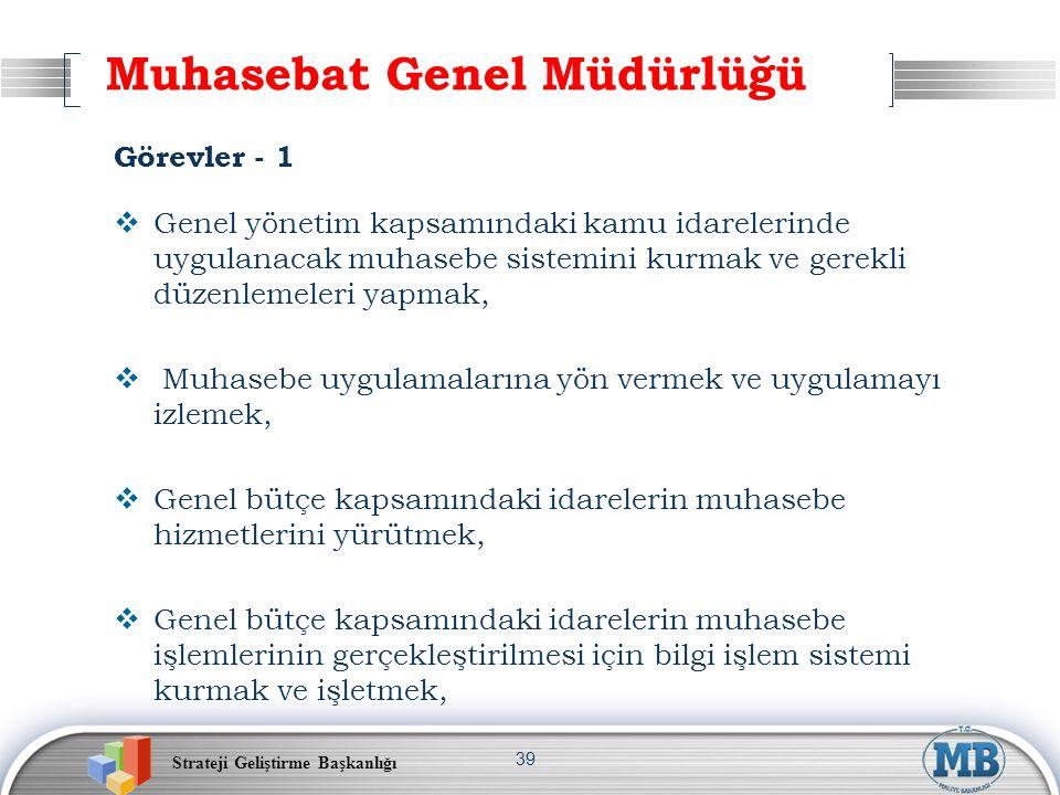 Strateji Geliştirme Başkanlığı 39 Muhasebat Genel Müdürlüğü Görevler - 1  Genel yönetim kapsamındaki kamu idarelerinde uygulanacak muhasebe sistemini