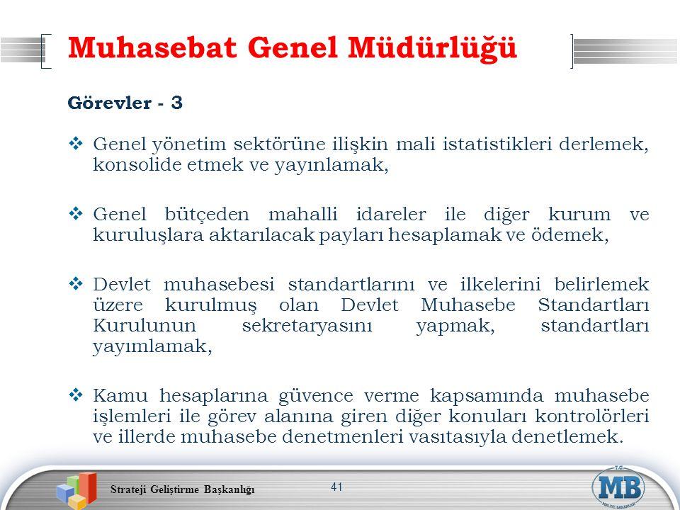 Strateji Geliştirme Başkanlığı 41 Muhasebat Genel Müdürlüğü Görevler - 3  Genel yönetim sektörüne ilişkin mali istatistikleri derlemek, konsolide etm