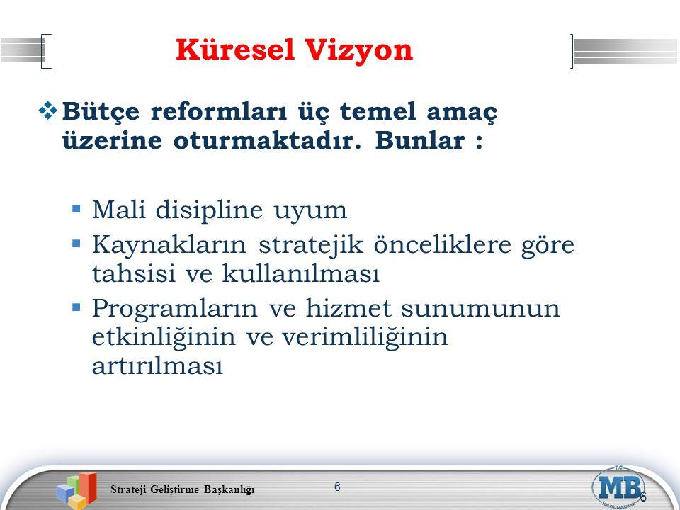 Strateji Geliştirme Başkanlığı 6  Bütçe reformları üç temel amaç üzerine oturmaktadır. Bunlar :  Mali disipline uyum  Kaynakların stratejik öncelik