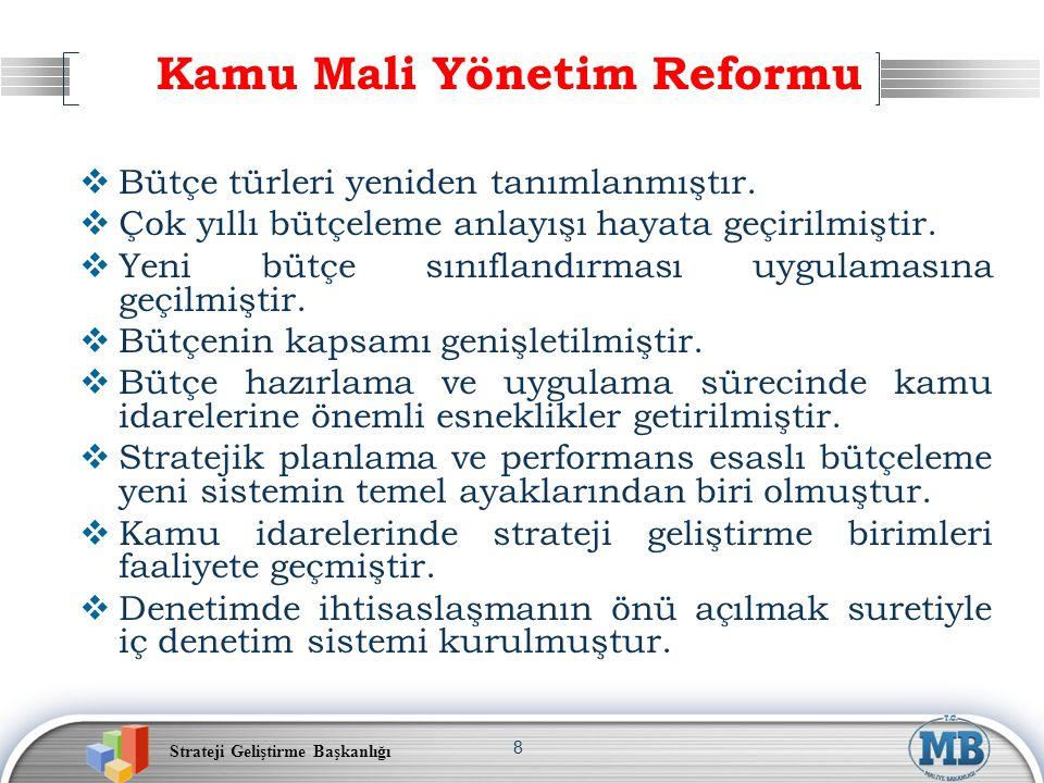 Strateji Geliştirme Başkanlığı 8 Kamu Mali Yönetim Reformu  Bütçe türleri yeniden tanımlanmıştır.  Çok yıllı bütçeleme anlayışı hayata geçirilmiştir