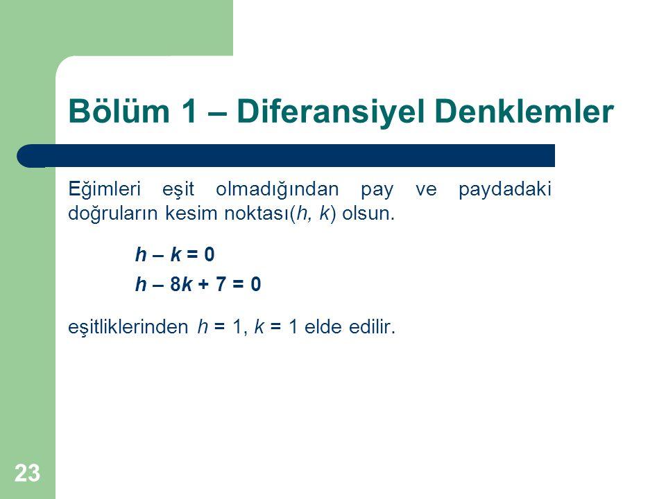 23 Bölüm 1 – Diferansiyel Denklemler Eğimleri eşit olmadığından pay ve paydadaki doğruların kesim noktası(h, k) olsun.