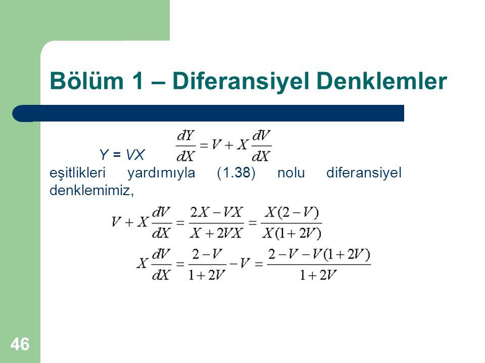 46 Bölüm 1 – Diferansiyel Denklemler Y = VX eşitlikleri yardımıyla (1.38) nolu diferansiyel denklemimiz,