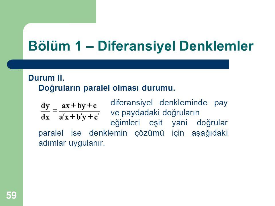59 Bölüm 1 – Diferansiyel Denklemler Durum II.Doğruların paralel olması durumu.