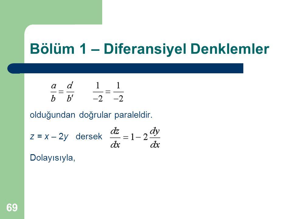 69 Bölüm 1 – Diferansiyel Denklemler olduğundan doğrular paraleldir. z = x – 2y dersek Dolayısıyla,