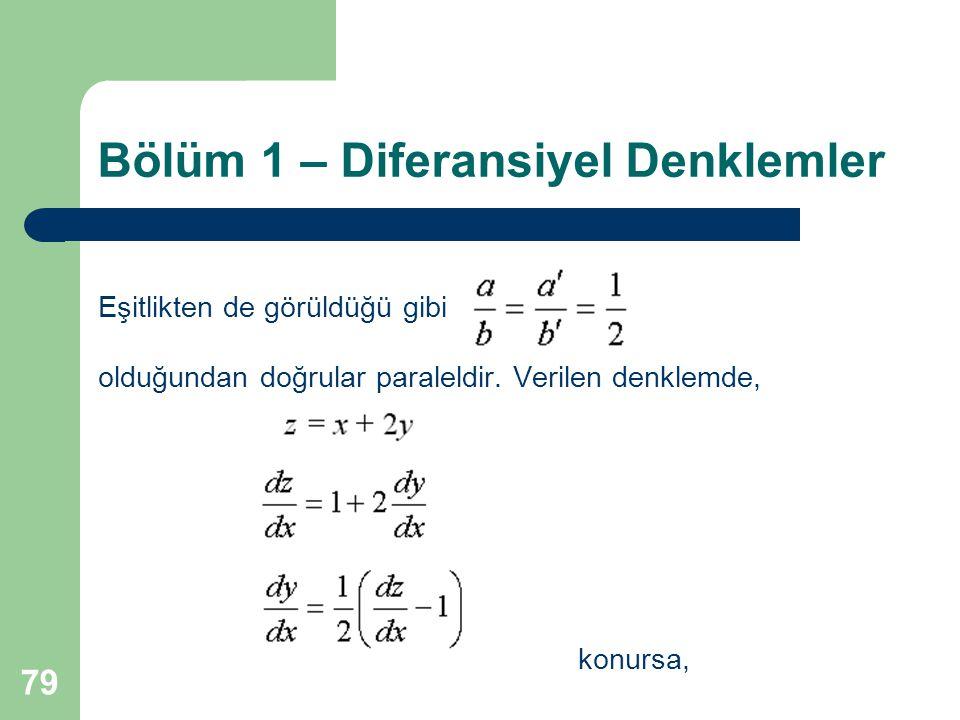 79 Bölüm 1 – Diferansiyel Denklemler Eşitlikten de görüldüğü gibi olduğundan doğrular paraleldir.