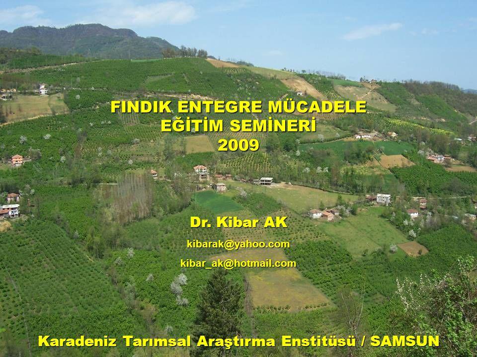 FINDIK ENTEGRE MÜCADELE EĞİTİM SEMİNERİ 2009 Dr. Kibar AK kibarak@yahoo.comkibar_ak@hotmail.com Karadeniz Tarımsal Araştırma Enstitüsü / SAMSUN