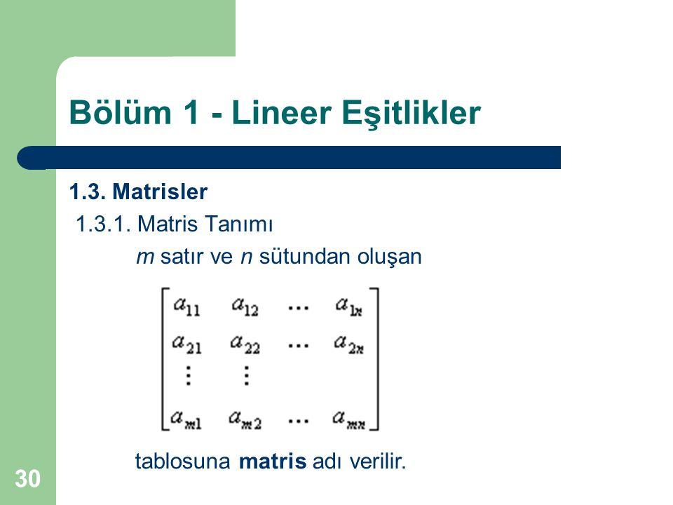 30 Bölüm 1 - Lineer Eşitlikler 1.3. Matrisler 1.3.1. Matris Tanımı m satır ve n sütundan oluşan tablosuna matris adı verilir.