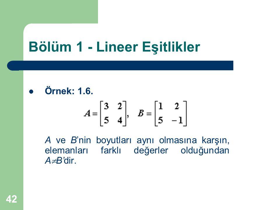 42 Bölüm 1 - Lineer Eşitlikler Örnek: 1.6. A ve B'nin boyutları aynı olmasına karşın, elemanları farklı değerler olduğundan A  B'dir.