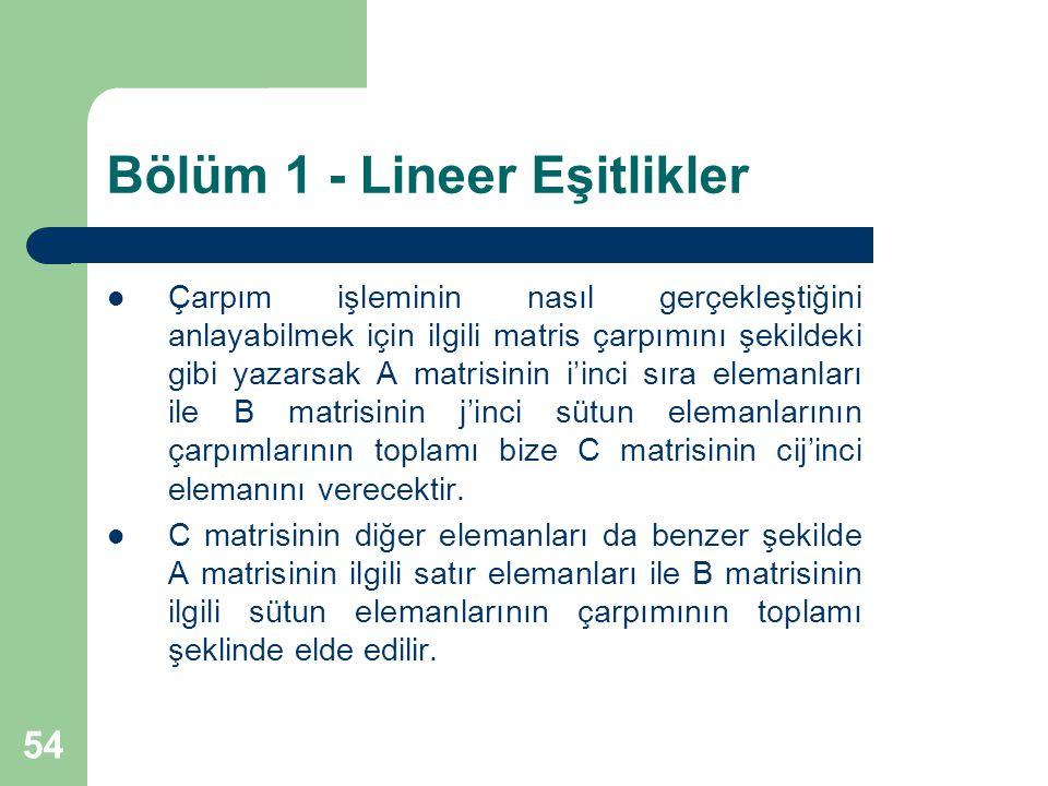 54 Bölüm 1 - Lineer Eşitlikler Çarpım işleminin nasıl gerçekleştiğini anlayabilmek için ilgili matris çarpımını şekildeki gibi yazarsak A matrisinin i