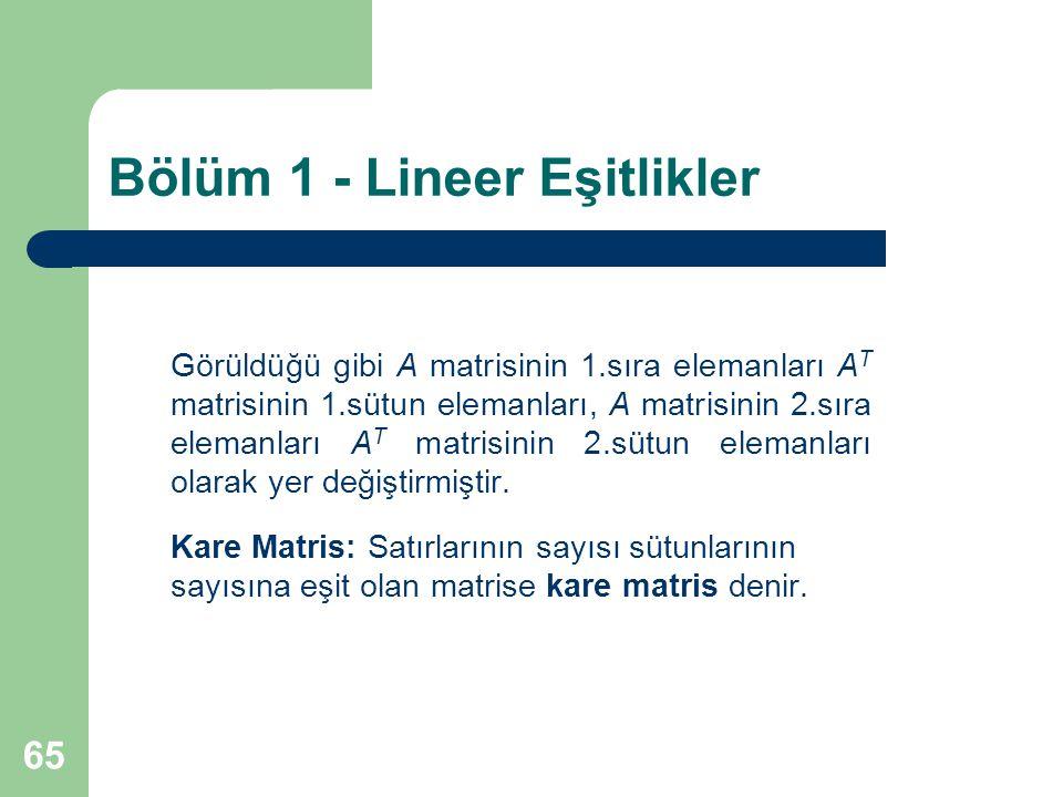 65 Bölüm 1 - Lineer Eşitlikler Görüldüğü gibi A matrisinin 1.sıra elemanları A T matrisinin 1.sütun elemanları, A matrisinin 2.sıra elemanları A T mat