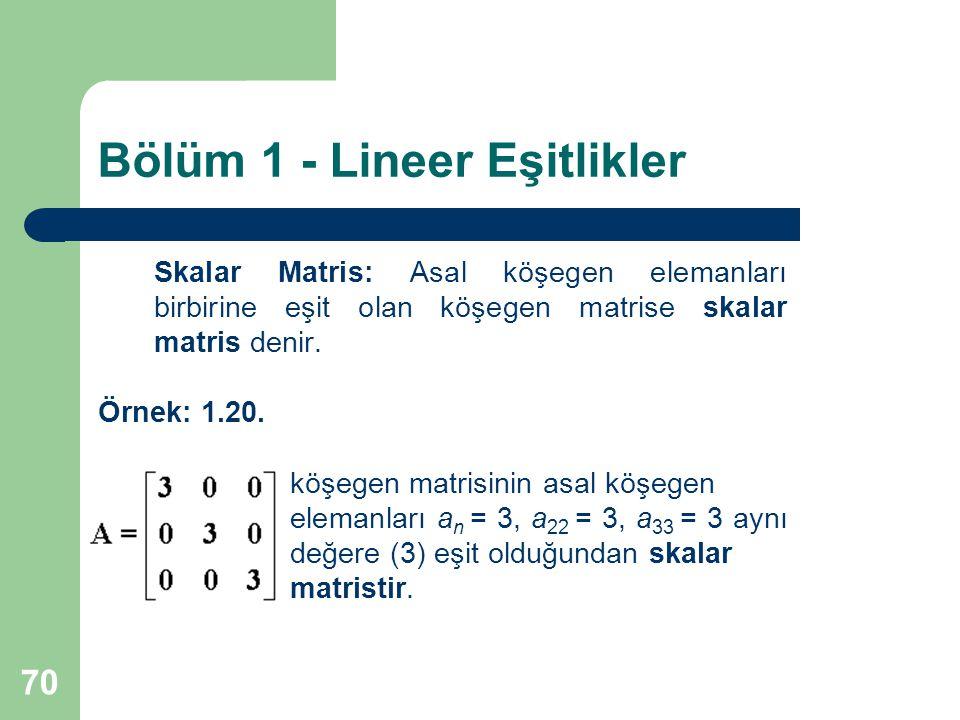 70 Bölüm 1 - Lineer Eşitlikler Skalar Matris: Asal köşegen elemanları birbirine eşit olan köşegen matrise skalar matris denir. Örnek: 1.20. köşegen ma