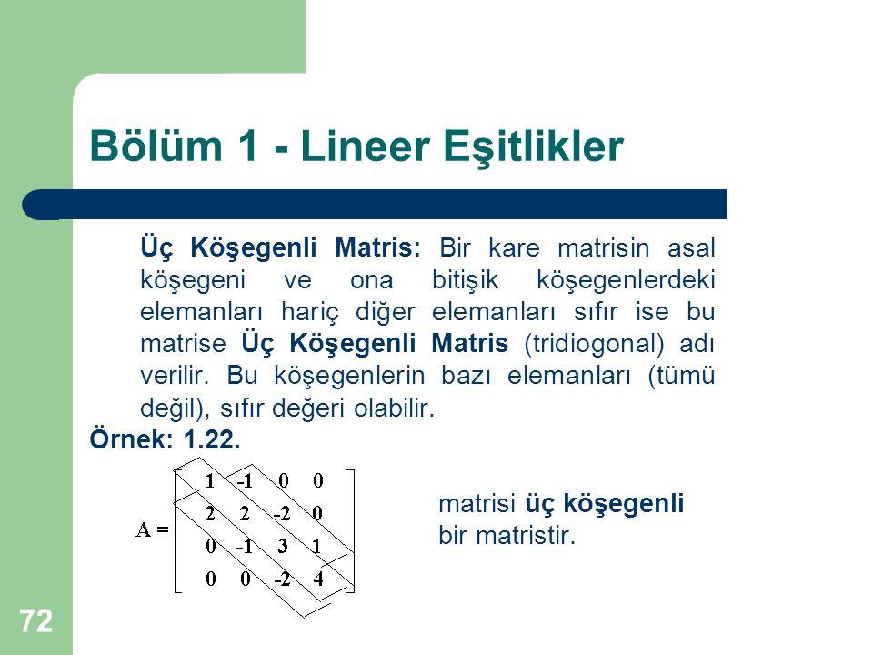 72 Bölüm 1 - Lineer Eşitlikler Üç Köşegenli Matris: Bir kare matrisin asal köşegeni ve ona bitişik köşegenlerdeki elemanları hariç diğer elemanları sı