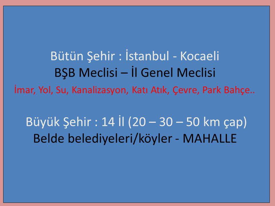 Bütün Şehir : İstanbul - Kocaeli BŞB Meclisi – İl Genel Meclisi İmar, Yol, Su, Kanalizasyon, Katı Atık, Çevre, Park Bahçe.. Büyük Şehir : 14 İl (20 –