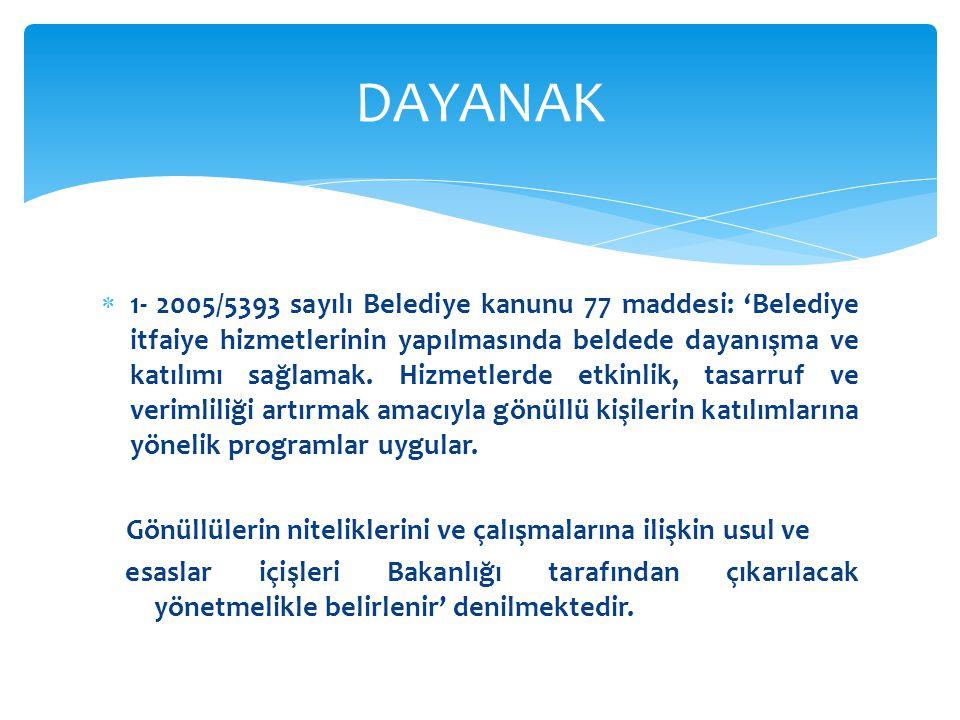  1- 2005/5393 sayılı Belediye kanunu 77 maddesi: 'Belediye itfaiye hizmetlerinin yapılmasında beldede dayanışma ve katılımı sağlamak.