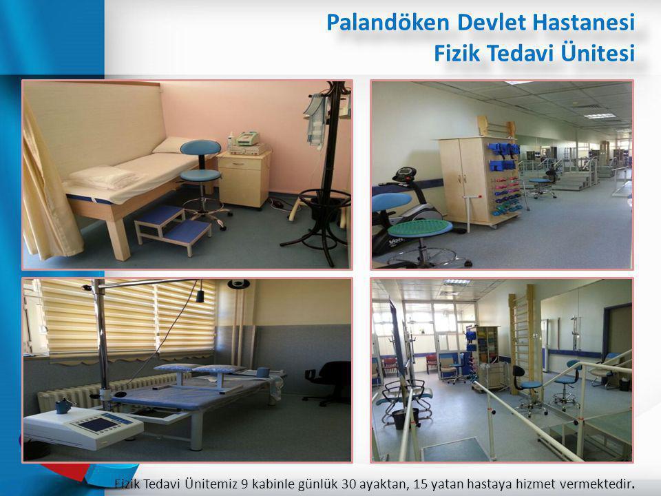 Palandöken Devlet Hastanesi Fizik Tedavi Ünitesi Fizik Tedavi Ünitemiz 9 kabinle günlük 30 ayaktan, 15 yatan hastaya hizmet vermektedir.