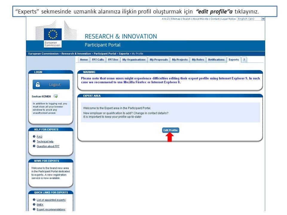 Karşınıza Participant Portal – Expert Area sayfası gelecektir.