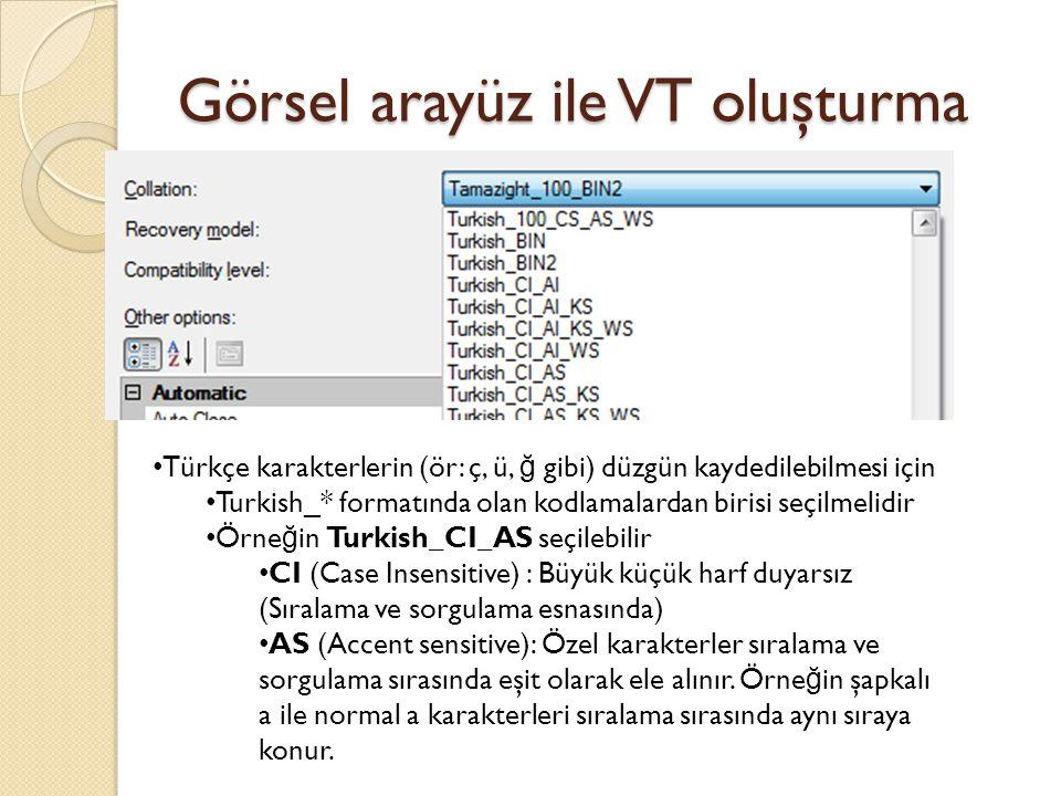Görsel arayüz ile VT oluşturma Türkçe karakterlerin (ör: ç, ü, ğ gibi) düzgün kaydedilebilmesi için Turkish_* formatında olan kodlamalardan birisi seç