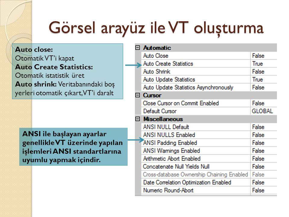 Görsel arayüz ile VT oluşturma Auto close: Otomatik VT'i kapat Auto Create Statistics: Otomatik istatistik üret Auto shrink: Veritabanındaki boş yerle