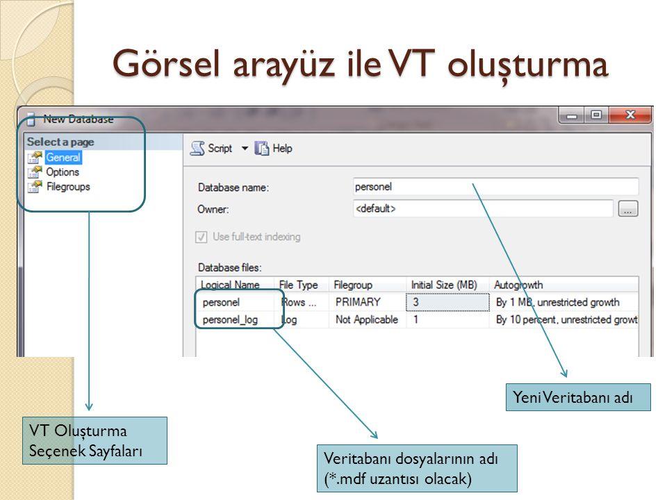 Görsel arayüz ile VT oluşturma Auto close: Otomatik VT'i kapat Auto Create Statistics: Otomatik istatistik üret Auto shrink: Veritabanındaki boş yerleri otomatik çıkart, VT'i daralt ANSI ile başlayan ayarlar genellikle VT üzerinde yapılan işlemleri ANSI standartlarına uyumlu yapmak içindir.