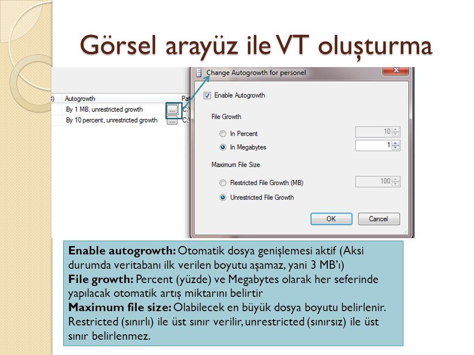 Görsel arayüz ile VT oluşturma Enable autogrowth: Otomatik dosya genişlemesi aktif (Aksi durumda veritabanı ilk verilen boyutu aşamaz, yani 3 MB'ı) Fi
