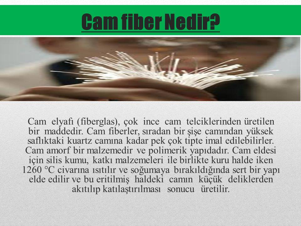 Cam fiber Nedir.Cam elyafı (fiberglas), çok ince cam telciklerinden üretilen bir maddedir.