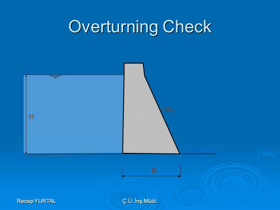 Recep YURTALÇ.Ü. İnş.Müöl. H 1/m d B Overturning Check