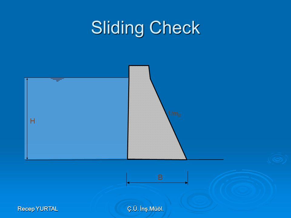 Recep YURTALÇ.Ü. İnş.Müöl. Sliding Check H 1/m d B