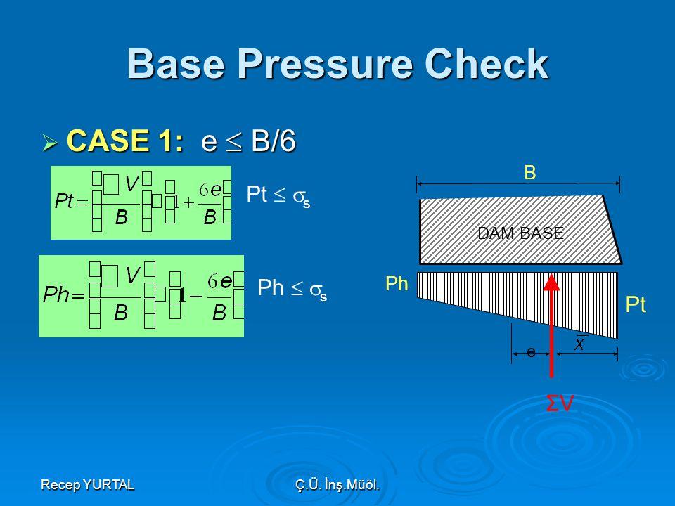 Recep YURTALÇ.Ü. İnş.Müöl. Base Pressure Check  CASE 1: e  B/6 B ΣV Ph Pt e DAM BASE Pt   s Ph   s