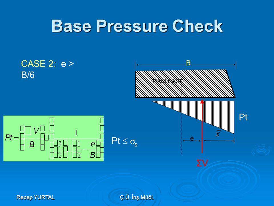 Recep YURTALÇ.Ü. İnş.Müöl. Pt B e DAM BASE CASE 2: e > B/6 Pt   s Base Pressure Check ΣV