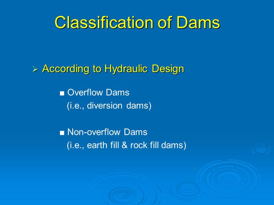 Classification of Dams  According to Hydraulic Design ■ Overflow Dams (i.e., diversion dams) ■ Non-overflow Dams (i.e., earth fill & rock fill dams)