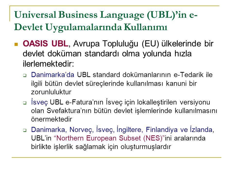 Universal Business Language (UBL)'in e- Devlet Uygulamalrında Kullanımı Daha önemlisi, CEN/ISSS Business Information Interoperability Workshop Avrupa Topluluğu ülkeleri çapında e-tedarik süreçlerinde birlikte işlerlik sağlamak için NES'ten başlayarak UBL spesifikasyonları çıkarmaktadır  http://www.cen.eu/CENORM/BusinessDomains/Business- Domains/ISSS/Activity/ws_bii.asp http://www.cen.eu/CENORM/BusinessDomains/Business- Domains/ISSS/Activity/ws_bii.asp  Bilindiği gibi CEN/ISSS çalıştaylarının amacı Avrupa Topluluğu çapında standard oluşturmaktır Avrupa Komisyonu tarafından desteklenen ve bir CIP PSP projesi olan PEPPOL (Pan-European Public eProcurement On- Line) projeside UBL kullanacaktır  http://www.peppol.eu/ http://www.peppol.eu/ Ülkemizde de Gelir İdaresi Başkanlığı, e-Fatura uygulamasına yönelik olarak UBL lokalizasyonu çalışmalarına devam etmektedir