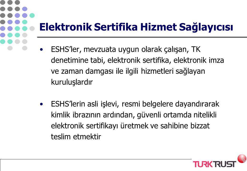 Elektronik Sertifika Hizmet Sağlayıcısı ESHS'ler, mevzuata uygun olarak çalışan, TK denetimine tabi, elektronik sertifika, elektronik imza ve zaman da