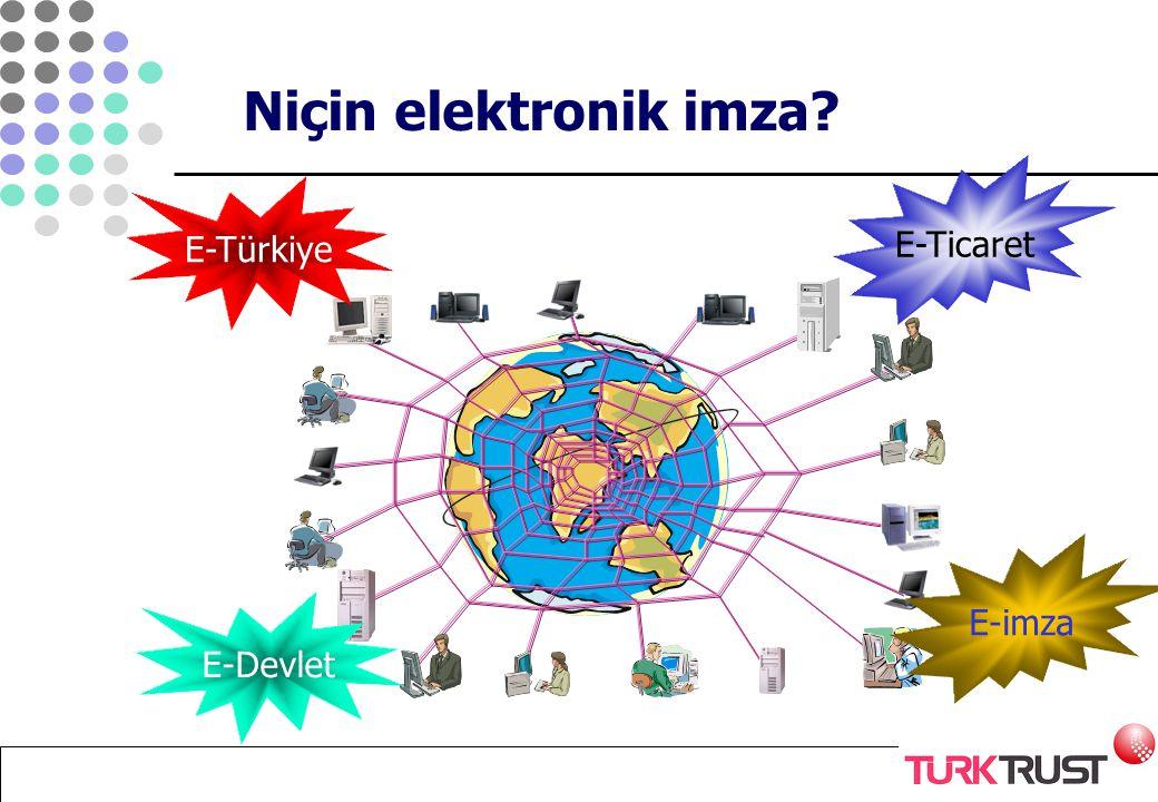 E-devlet, e-dönüşüm projelerinin yaygınlaşması ve beklenen yararlar sağlanamaz - Hız kazandırır - Maliyetlerden ciddi tasarruf sağlar - Kolaylık sağlar - Esneklik getirir Niçin elektronik imza?