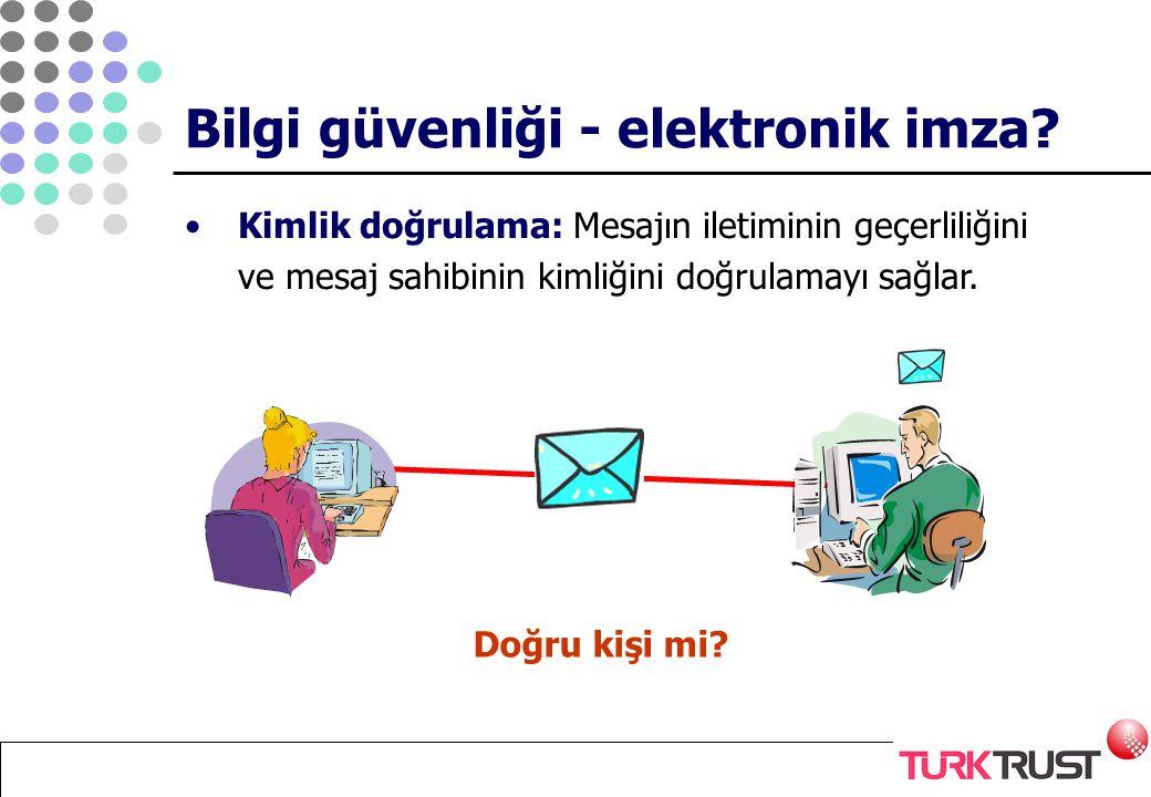 Kimlik doğrulama: Mesajın iletiminin geçerliliğini ve mesaj sahibinin kimliğini doğrulamayı sağlar. Doğru kişi mi? Bilgi güvenliği - elektronik imza?
