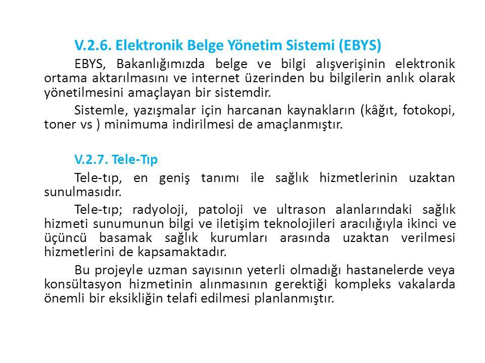 V.2.6. Elektronik Belge Yönetim Sistemi (EBYS) EBYS, Bakanlığımızda belge ve bilgi alışverişinin elektronik ortama aktarılmasını ve internet üzerinden