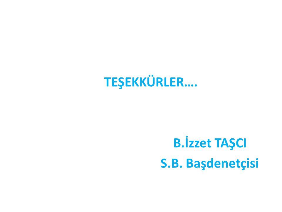 TEŞEKKÜRLER…. B.İzzet TAŞCI S.B. Başdenetçisi