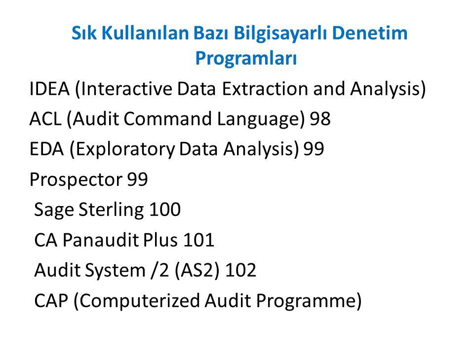 Sık Kullanılan Bazı Bilgisayarlı Denetim Programları IDEA (Interactive Data Extraction and Analysis) ACL (Audit Command Language) 98 EDA (Exploratory