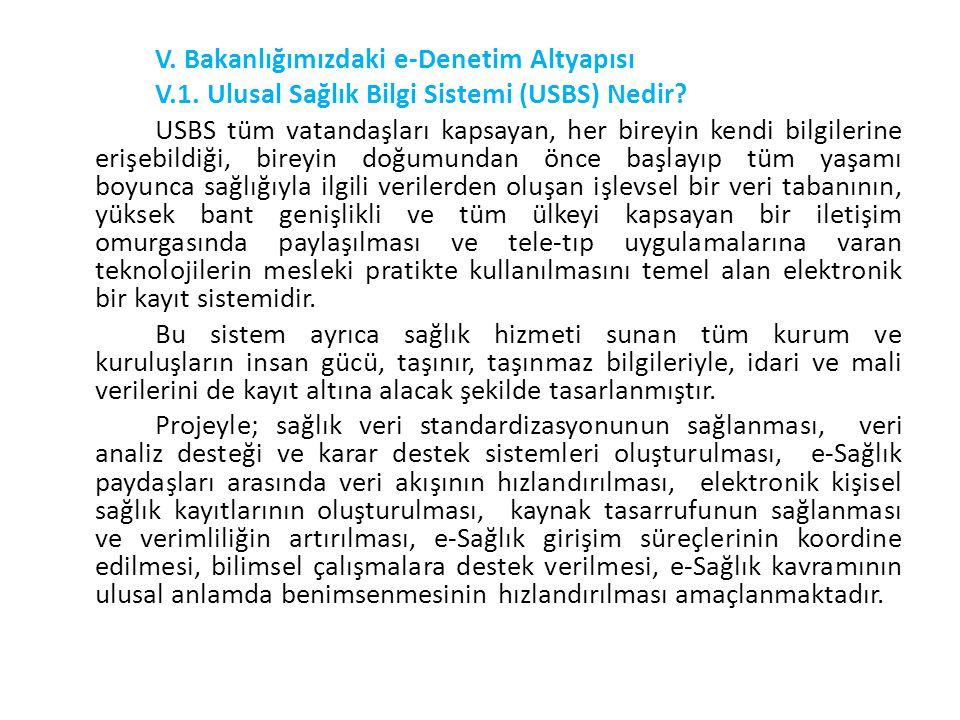 V. Bakanlığımızdaki e-Denetim Altyapısı V.1. Ulusal Sağlık Bilgi Sistemi (USBS) Nedir? USBS tüm vatandaşları kapsayan, her bireyin kendi bilgilerine e