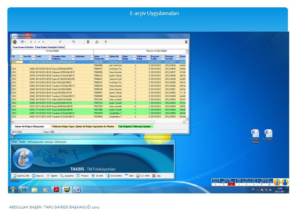 E-arşiv Uygulamaları ABDULLAH BAŞER- TAPU DAİRESİ BAŞKANLIĞI 2012