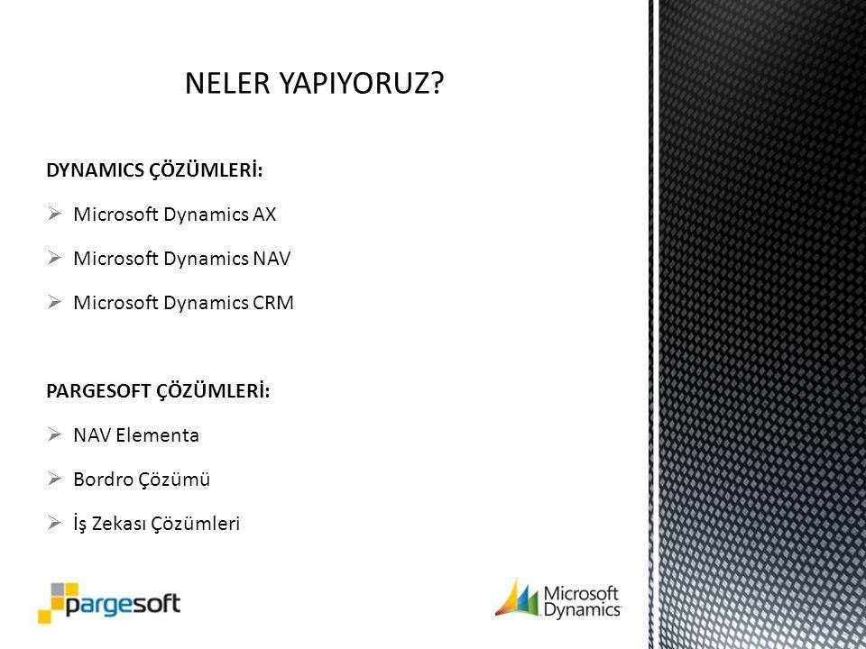 DYNAMICS ÇÖZÜMLERİ:  Microsoft Dynamics AX  Microsoft Dynamics NAV  Microsoft Dynamics CRM PARGESOFT ÇÖZÜMLERİ:  NAV Elementa  Bordro Çözümü  İş Zekası Çözümleri