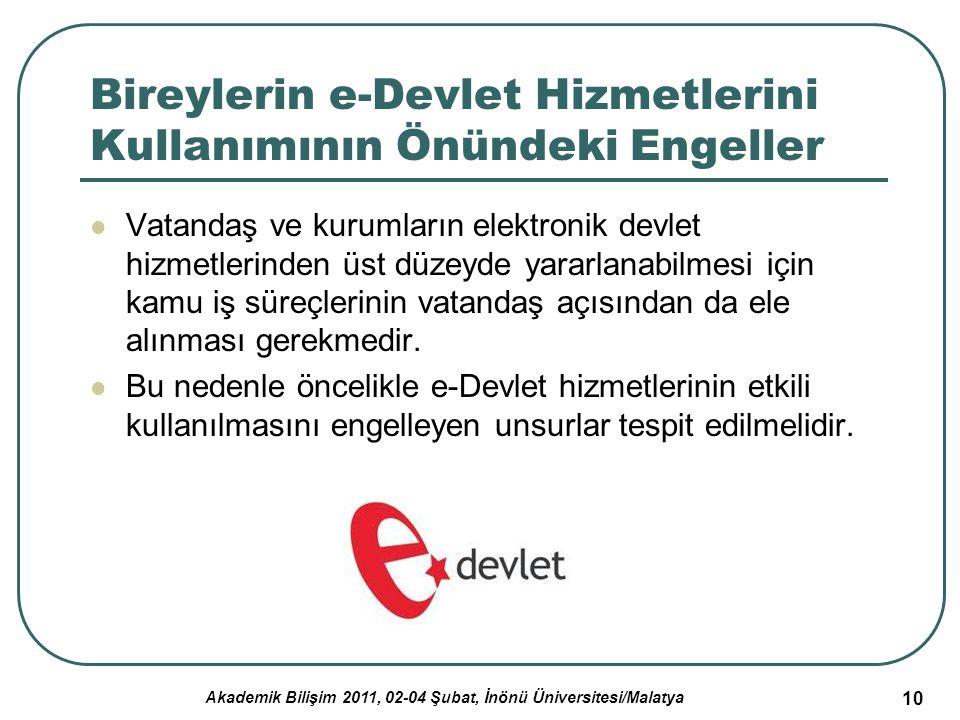 Akademik Bilişim 2011, 02-04 Şubat, İnönü Üniversitesi/Malatya 10 Bireylerin e-Devlet Hizmetlerini Kullanımının Önündeki Engeller Vatandaş ve kurumlar