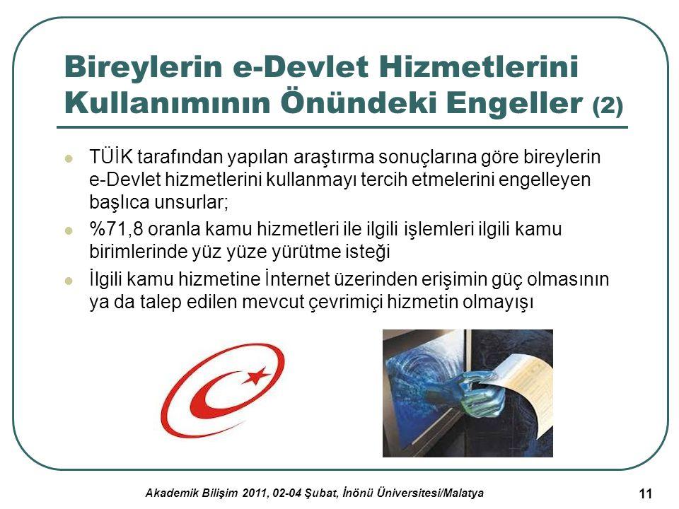 Akademik Bilişim 2011, 02-04 Şubat, İnönü Üniversitesi/Malatya 11 Bireylerin e-Devlet Hizmetlerini Kullanımının Önündeki Engeller (2) TÜİK tarafından