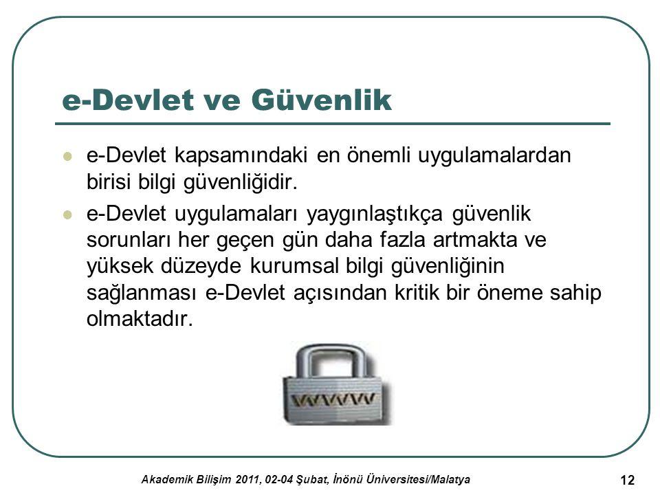Akademik Bilişim 2011, 02-04 Şubat, İnönü Üniversitesi/Malatya 12 e-Devlet ve Güvenlik e-Devlet kapsamındaki en önemli uygulamalardan birisi bilgi güv